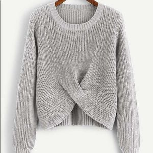 Gray Twist Hem Solid Sweater